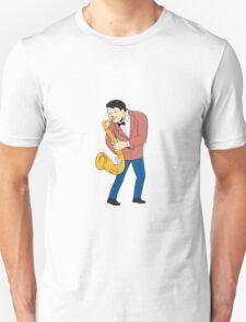 Musician Playing Saxophone Cartoon T-Shirt
