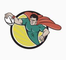 Superhero Rugby Player Scoring Try Circle T-Shirt