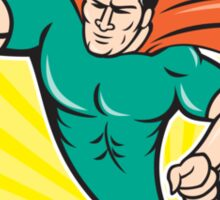 Superhero Rugby Player Scoring Try Circle Sticker