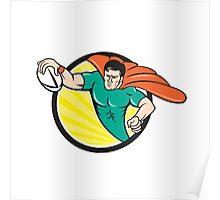 Superhero Rugby Player Scoring Try Circle Poster