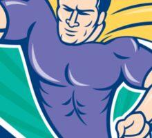 Superhero Rugby Player Scoring Try Crest Sticker