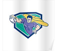 Superhero Rugby Player Scoring Try Crest Poster