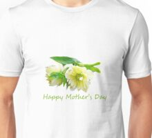 Lovely white peony flowers Happy Mother's Day photo art. Unisex T-Shirt