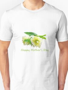 Lovely white peony flowers Happy Mother's Day photo art. T-Shirt