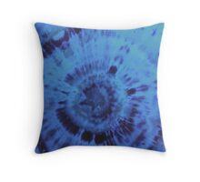Blue tie dye burst Throw Pillow