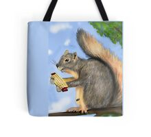 Squirrel eating corn Tote Bag