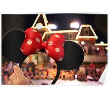 Minnie Mouse Ears on Mainstreet Poster