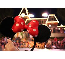 Minnie Mouse Ears on Mainstreet Photographic Print