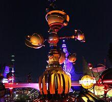 Tomorrowland Astro Orbitor at Night by CarolynBurt