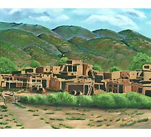 Taos Pueblo New Mexico ~ Oil Painting Photographic Print