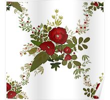 Seamless floral pattern with red poppies on white Poster