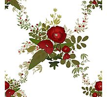 Seamless floral pattern with red poppies on white Photographic Print