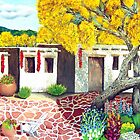 Southwest Garden Patio ~ Oil Painting by Barbara Applegate