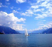 sailboat on Lake Geneva, Switzerland by Robert La Bua