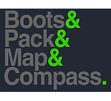 Boots & Pack & Map & Compass. Photographic Print