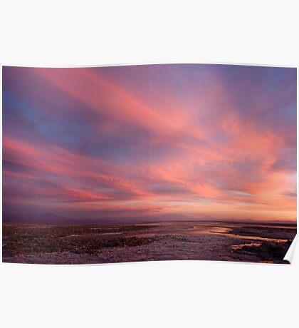 sunset over laguna Chaxas Poster
