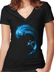 Space Surfing Women's Fitted V-Neck T-Shirt