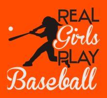 Real girls play baseball Kids Tee