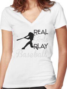 Real girls play baseball Women's Fitted V-Neck T-Shirt