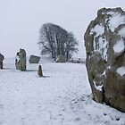 Avebury in the Snow by Sandra Mangnall