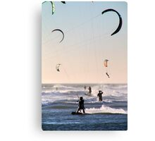 A Criss-Cross of Kitesurfers  Canvas Print