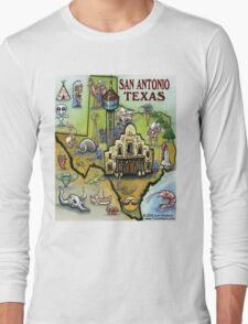 San Antonio Texas Cartoon Map Long Sleeve T-Shirt