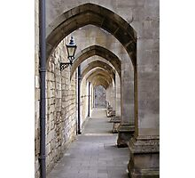 Arcade of modern flying buttresses, Winchester Cathedral, southern England Photographic Print