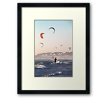Dancing with the wind and surf at dusk Framed Print