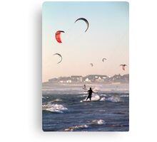 Dancing with the wind and surf at dusk Canvas Print