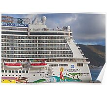 Norwegian Getaway cruise ship docked in St Maarten Poster