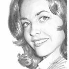 actress Myrna Fahey closeup drawing by Mike Theuer