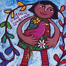 ALEXIA  AND  HER  LOVEBIRD by ART PRINTS ONLINE         by artist SARA  CATENA