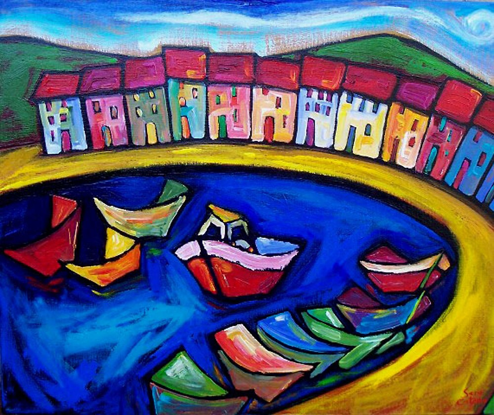 THE  WINDING  AMALFI  COAST - ITALY by ART PRINTS ONLINE         by artist SARA  CATENA
