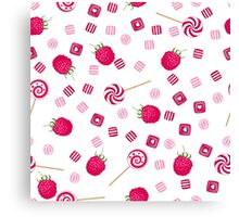 Raspberry lollipops, candy and chewing gum seamless pattern background Canvas Print