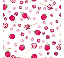 Raspberry lollipops, candy and chewing gum seamless pattern background Photographic Print
