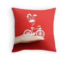bicycle lovely from hand Throw Pillow