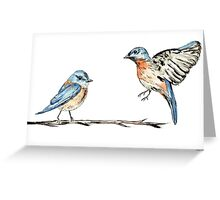 Bluebirds watercolour and ink Greeting Card