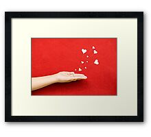 Blowing Hearts from a Hand Framed Print