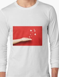 Blowing Hearts from a Hand Long Sleeve T-Shirt