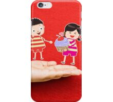 boy and girl with cupcake on a hand iPhone Case/Skin