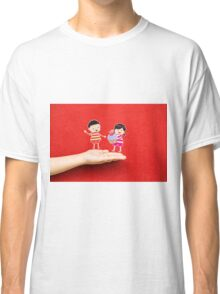 boy and girl with cupcake on a hand Classic T-Shirt