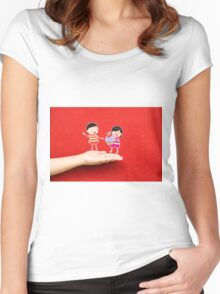 boy and girl with cupcake on a hand Women's Fitted Scoop T-Shirt