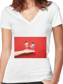 boy and girl with cupcake on a hand Women's Fitted V-Neck T-Shirt