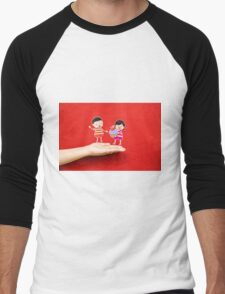 boy and girl with cupcake on a hand Men's Baseball ¾ T-Shirt