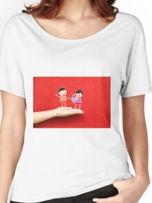 boy and girl with cupcake on a hand Women's Relaxed Fit T-Shirt