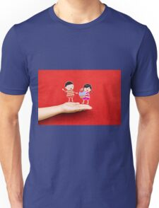 boy and girl with cupcake on a hand Unisex T-Shirt