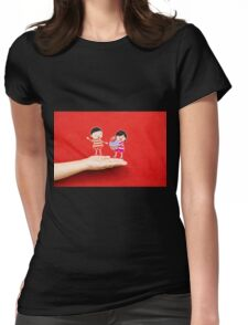 boy and girl with cupcake on a hand Womens Fitted T-Shirt