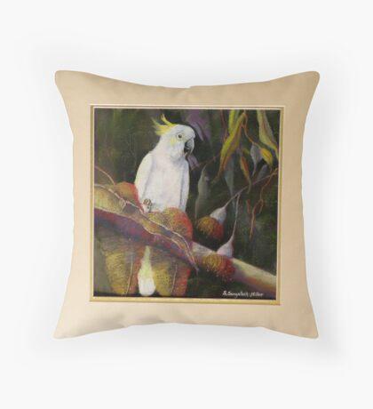 Midnight Watch    Sulphur Crested Cockatoo Throw Pillow