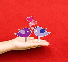couple birds lovely on a hand by ngocdai86