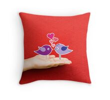 couple birds lovely on a hand Throw Pillow